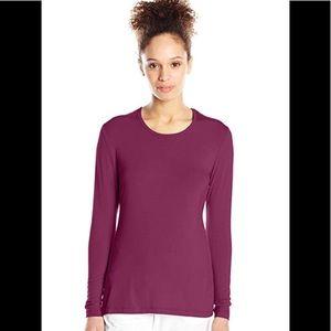 Long sleeve berry wine scoop neck basics tee shirt